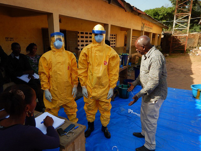 Health workers receive Ebola response training during the 2014 outbreak
