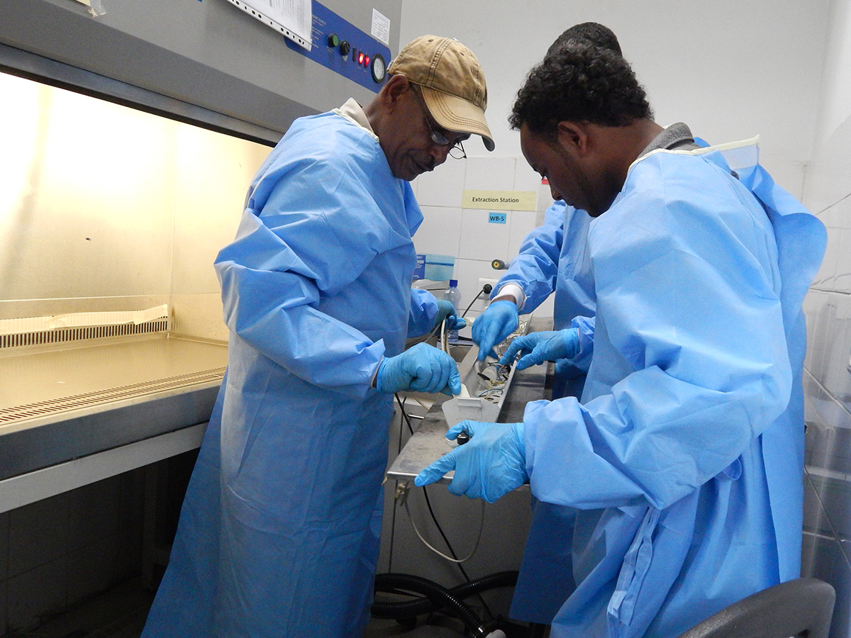 Engineers in an Ethiopia biosafety lab work on the equipment