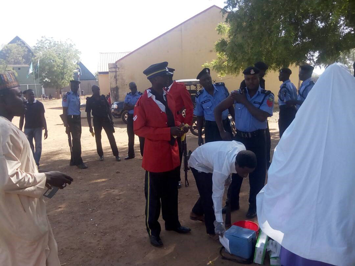 Uniformed personnel getting vaccinated against yellow fever at their base in Gusau LGA