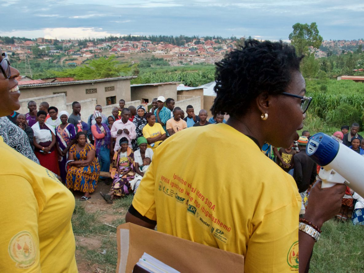 Rwanda PHIA team conducting community mobilization