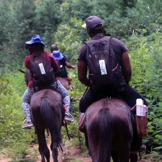 Population-based HIV Impact Assessments (PHIA) Survey team in Lesotho travels on horseback to gather critical information on the HIV epidemic