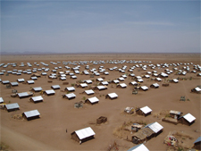 Photo of a refugee camp in the desert