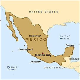 Map of U.S.-Mexico border