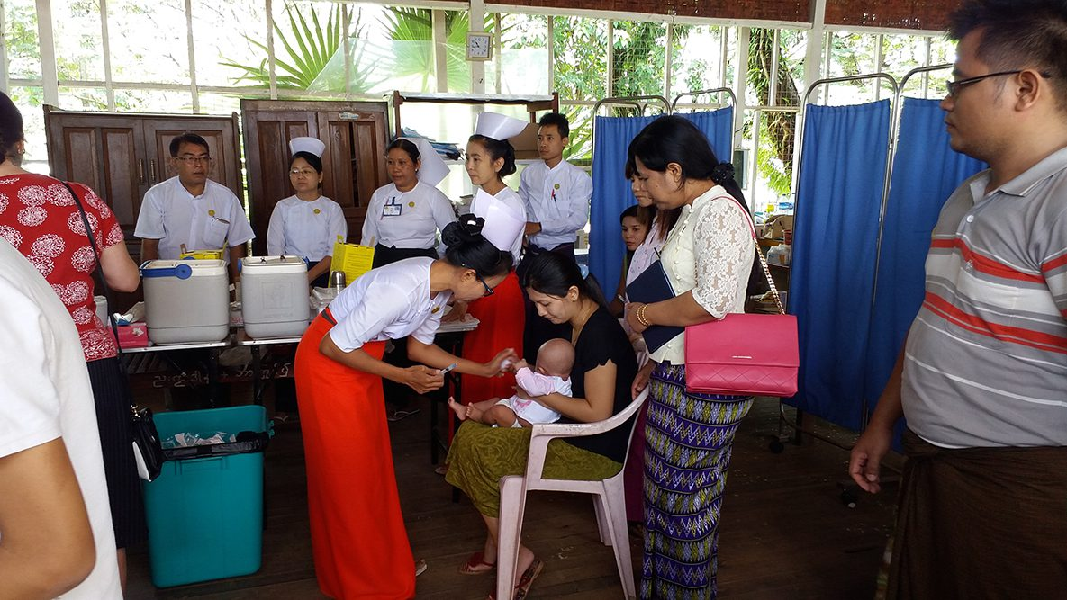 Baby receiving pentavalent vaccine in Myanmar