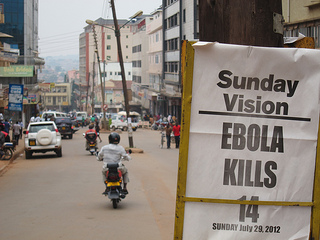 "Newspaper headline: ""Sunday Vision - Ebola kills 14 - Sunday, July 20, 2012"