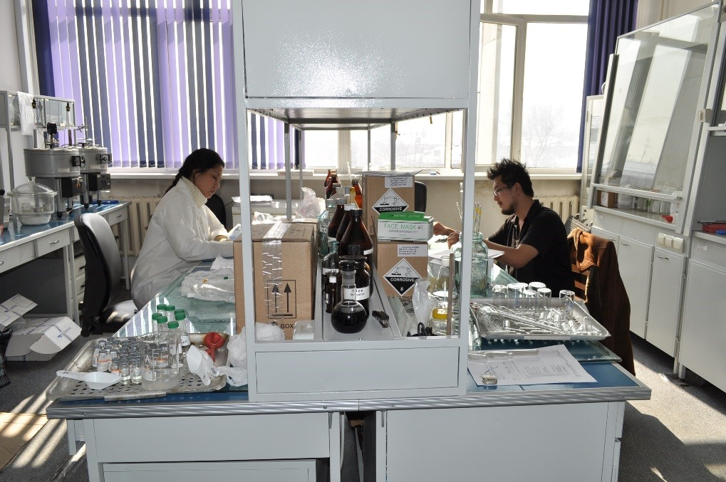 Kazakhstan lab specialists at a state laboratory in Almaty.
