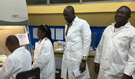CDC microbiologist Mahamoudou Ouattara training Tamale Laboratory Staff on real-time PCR technique.