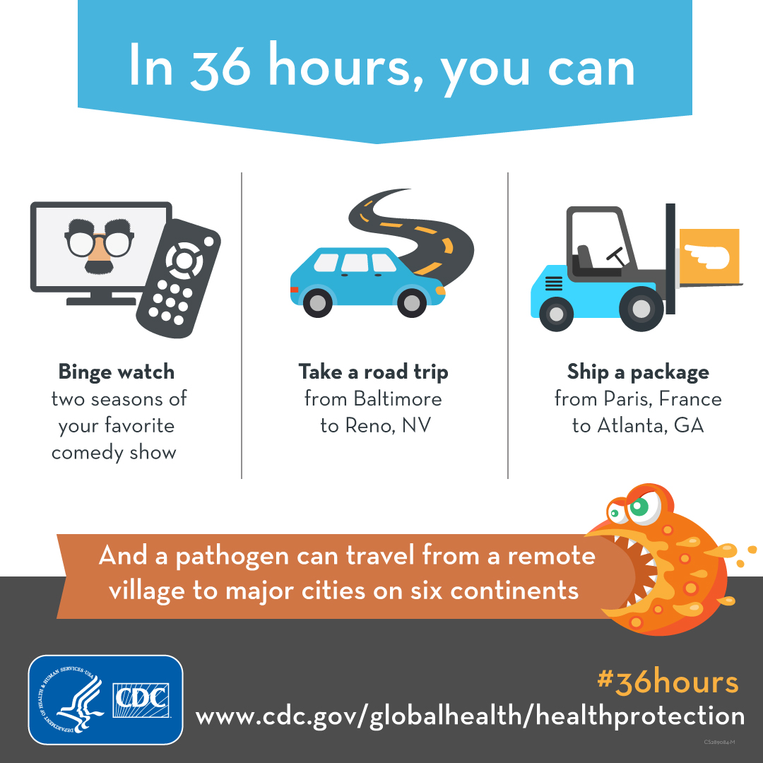 In 36 hours you can... binge watch, take a road trip, ship a package, in the time a pathogen can travel from a remote village to major cities around the world. https://www.cdc.gov/globalhealth/healthprotection/