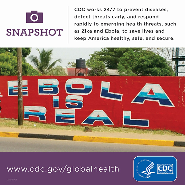 CDC works 24/7 to prevent diseases, detect threats early, and respond rapidly to emerging health threats, such as Zika and Ebola, to save lives and keep America healthy, safe, and secure.. www.cdc.gov/globalhealth