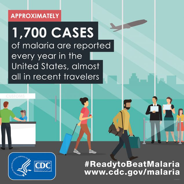 1,700 cases of malaria are reported every year in the United States, almost all in recent travelers