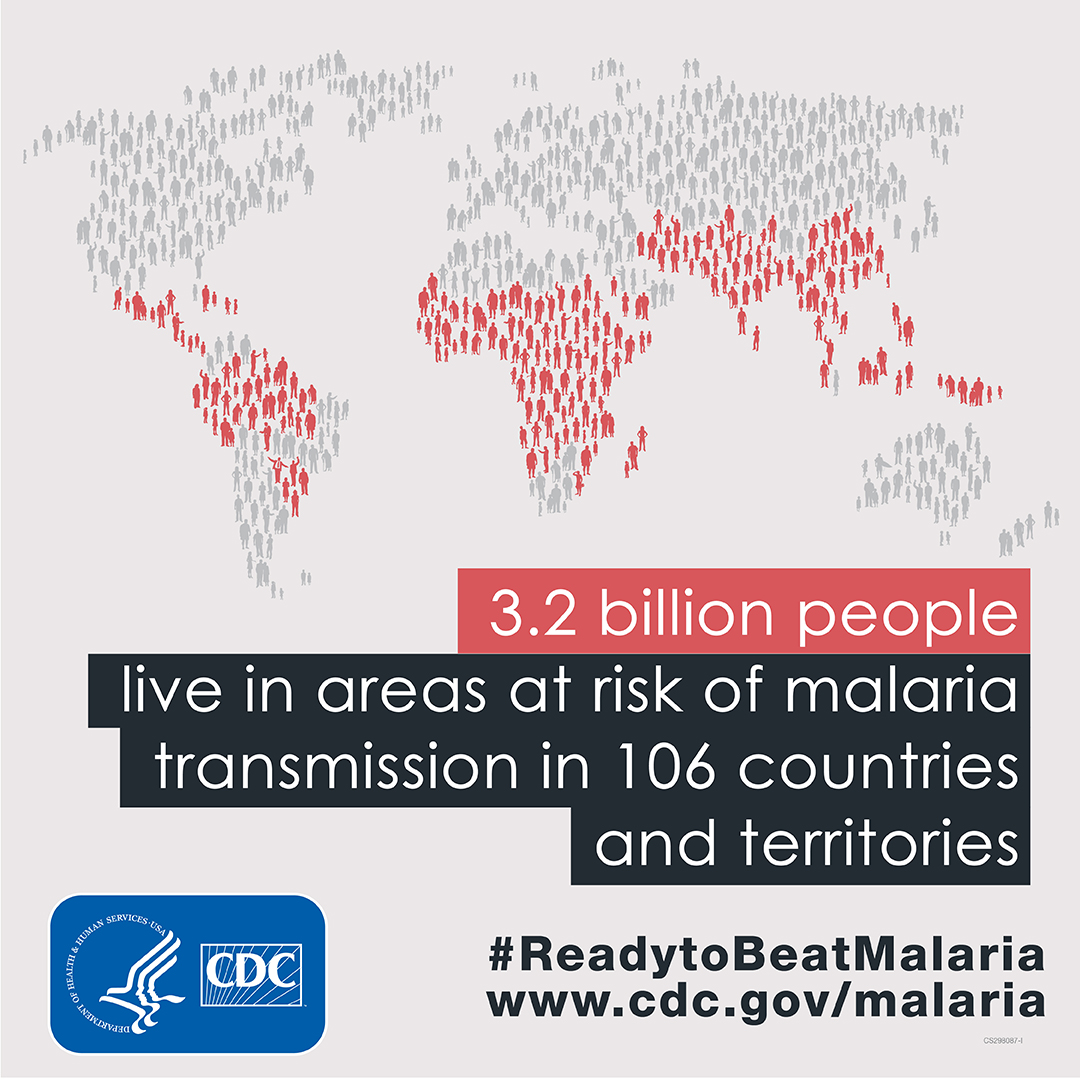 3.2 billion People live in areas at risk of malaria transmission in 106 countries and territories