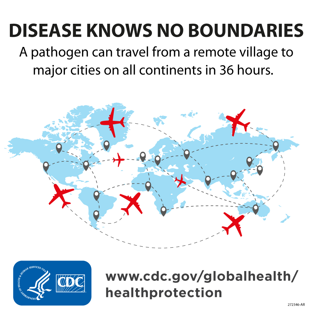 Disease Knows No Boundaries. A pathogen can travel from a remote village to major cities on all continents in 36 hours.