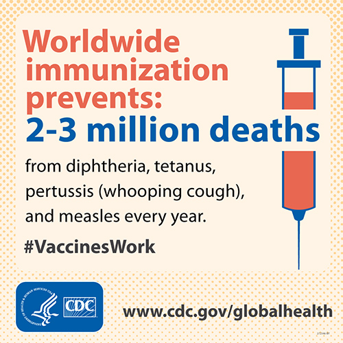 - Immunization prevents 2-3 million deaths from diphtheria, tetanus, pertussis (whooping cough), and measles every year. #VaccinesWork www.cdc.gov/globalhealth
