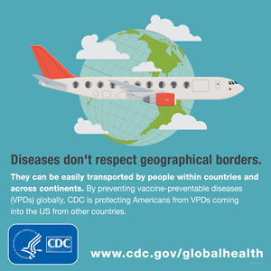 Diseases don't respect geographical borders. They can be easily transported by people within countries and across continents. By preventing vaccine-preventable diseases (VPDs), CDC is protecting Americans from VPDs coming int the U.S. from other countries