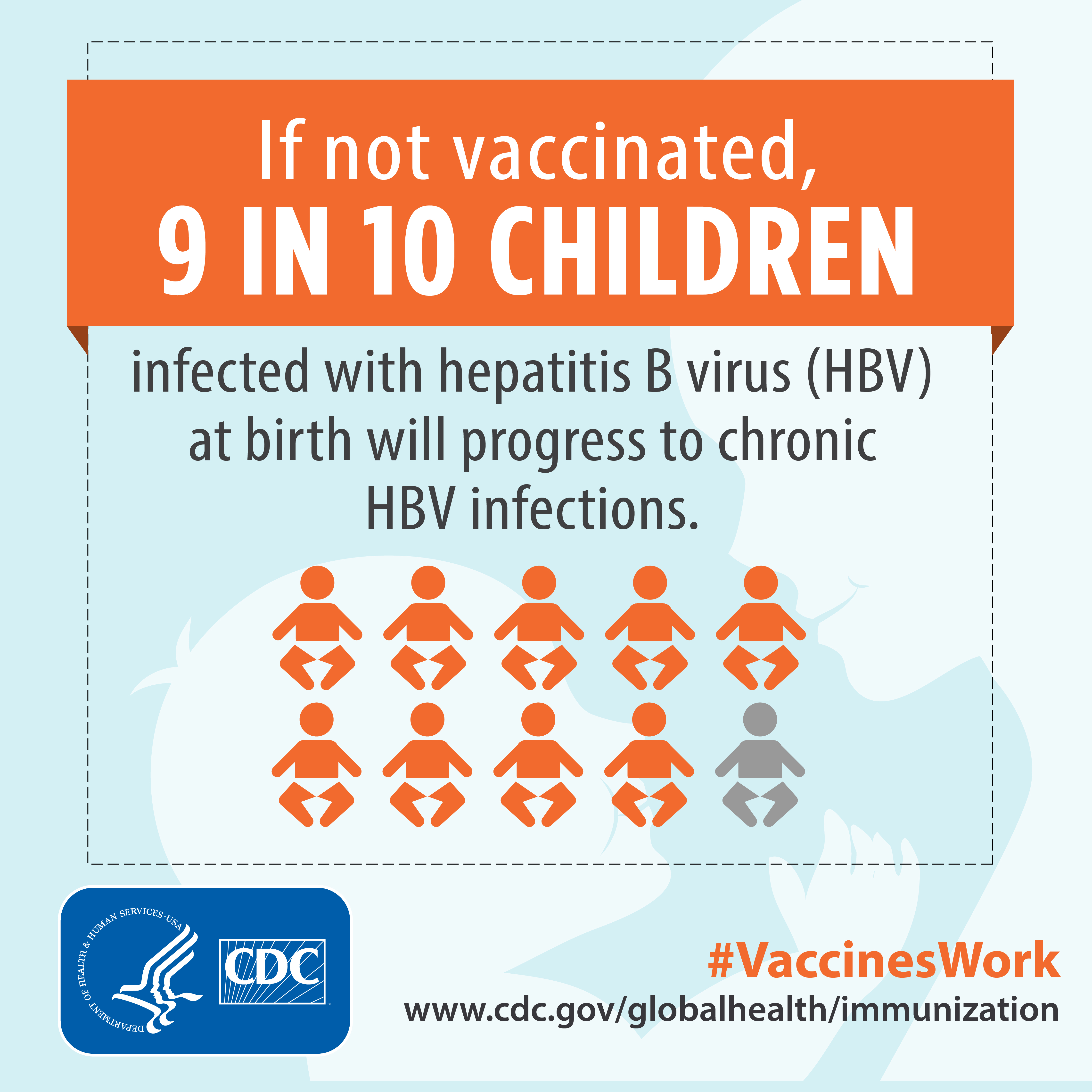 If not vaccinated, 9 in10 children infected with hepatitis B virus (HBV) at birth will progress to chronic HBV infection