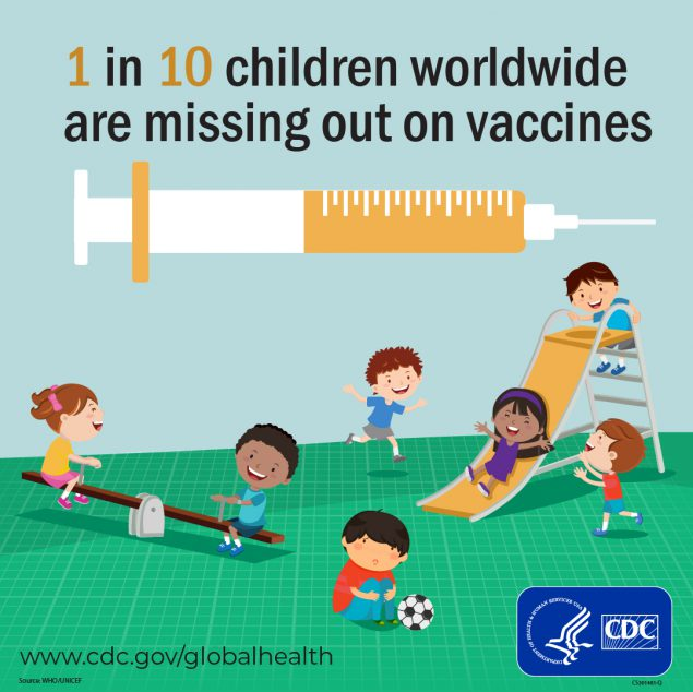 1 in 10 children worldwide are missing out on vaccines. World Immunization Week www.cdc.gov/globalhealth