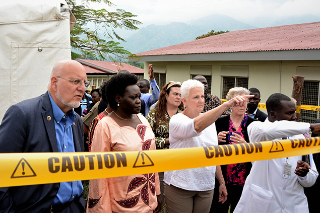 CDC Director Robert Redfield,the Minister of State for Health Sarah Opendi, and the US Ambassador to Uganda, Deborah Malac learn about Uganda Preparedness activities in 2018. Photo credit: Irene Nabusoba