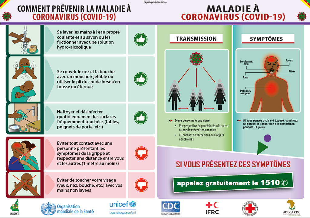 A COVID-19 poster developed by Cameroon MOH in collaboration with CDC and other partners.