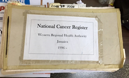 Early version of one of the cancer registries in Jamaica. Photo by Elizabeth Van Dyne.