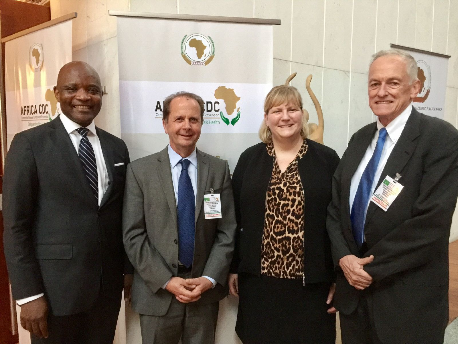 (From left to right) First Africa CDC Director, John Nkengasong, former CGH Director, Tom Kenyon, CGH Director,  Rebecca Martin, and former CGH Director, Kevin de Cock.