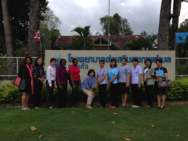 Health professionals from CDC and Thai NCI and Thai MOPH outside a health center in Ubon Ratchatani