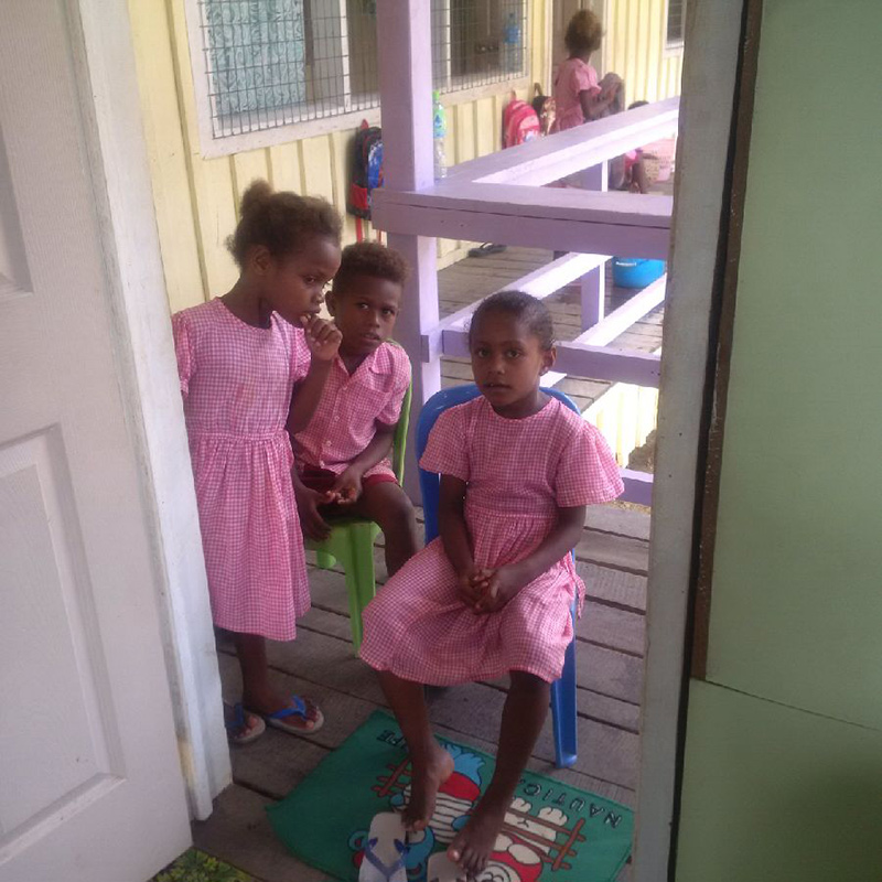 Children waiting to get tested for hepatitis B in school-based survey in the Solomon Islands