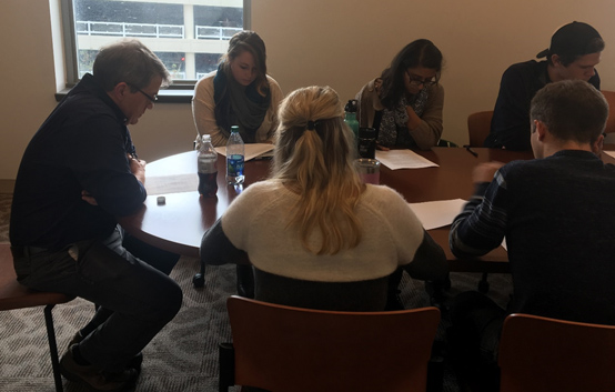 DGHP's Emergency Response and Recovery Branch's Deputy Chief, Mark Anderson, leading students in a small breakout session at the Health in Complex Humanitarian Emergencies course at Emory in early 2017