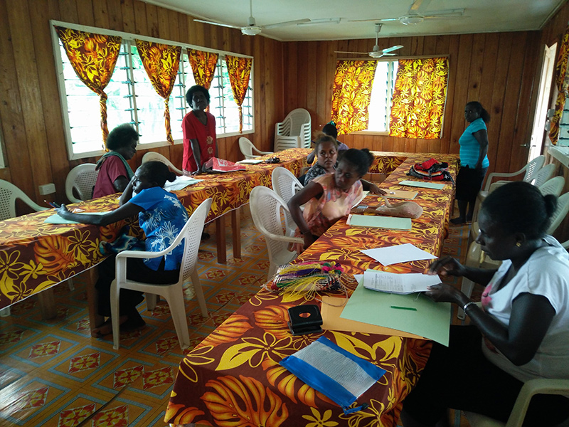 Immunization staff from different provinces in Solomon Islands reviewing their hepatitis B birth dose coverage data after implementation of OCC strategy