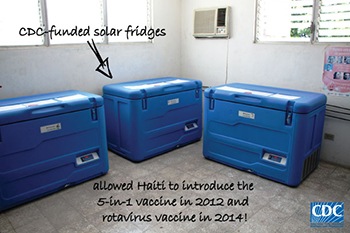 CDC-funded solar refrigerators at Jacmel Depot