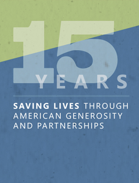 PEPFAR15 Page describing how pepfar played a critical role in an effort to save millions of lives across the globe