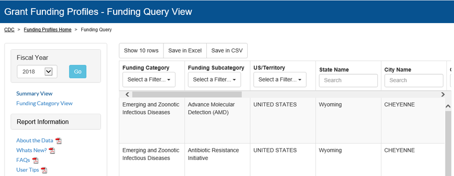 Query view of the Fiscal year 2018 CDC Grant Funding profiles
