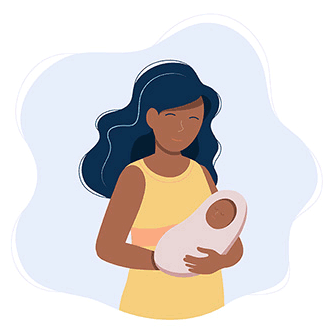 Illustration of woman holding a baby