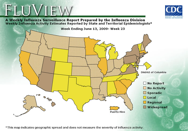 FluView, Week Ending June 13, 2009. Weekly Influenza Surveillance Report Prepared by the Influenza Division. Weekly Influenza Activity Estimate Reported by State and Territorial Epidemiologists. Select this link for more detailed data.