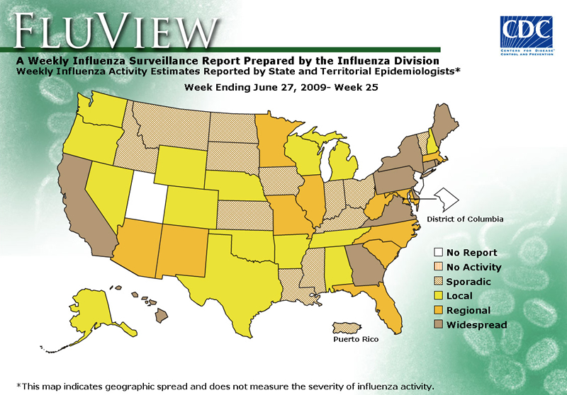 FluView, Week Ending June 27, 2009. Weekly Influenza Surveillance Report Prepared by the Influenza Division. Weekly Influenza Activity Estimate Reported by State and Territorial Epidemiologists. Select this link for more detailed data.