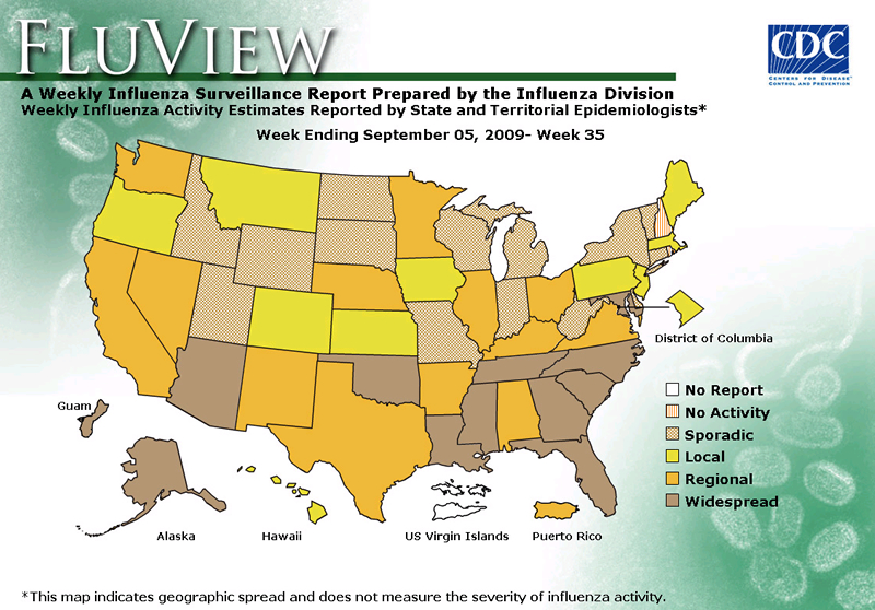 FluView, Week Ending September 5, 2009. Weekly Influenza Surveillance Report Prepared by the Influenza Division. Weekly Influenza Activity Estimate Reported by State and Territorial Epidemiologists. Select this link for more detailed data.