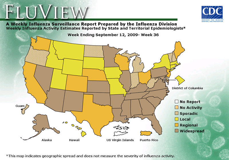 FluView, Week Ending September 12, 2009. Weekly Influenza Surveillance Report Prepared by the Influenza Division. Weekly Influenza Activity Estimate Reported by State and Territorial Epidemiologists. Select this link for more detailed data.