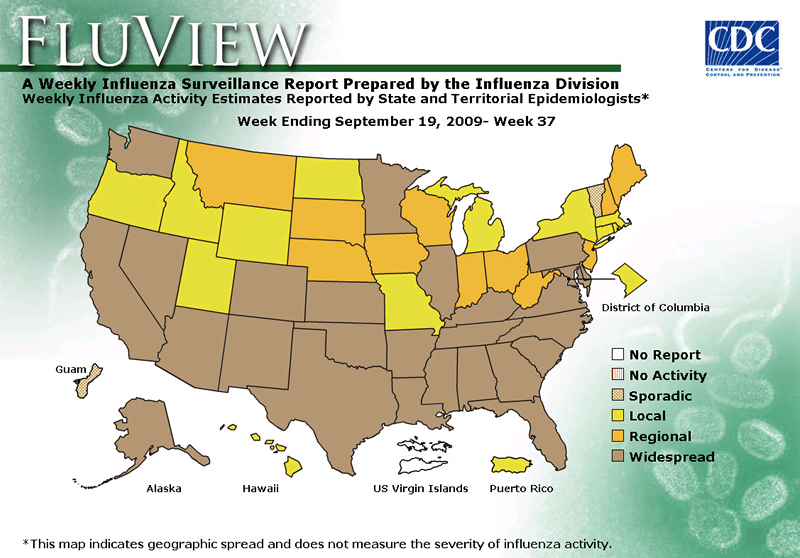 FluView, Week Ending September 19, 2009. Weekly Influenza Surveillance Report Prepared by the Influenza Division. Weekly Influenza Activity Estimate Reported by State and Territorial Epidemiologists. Select this link for more detailed data.