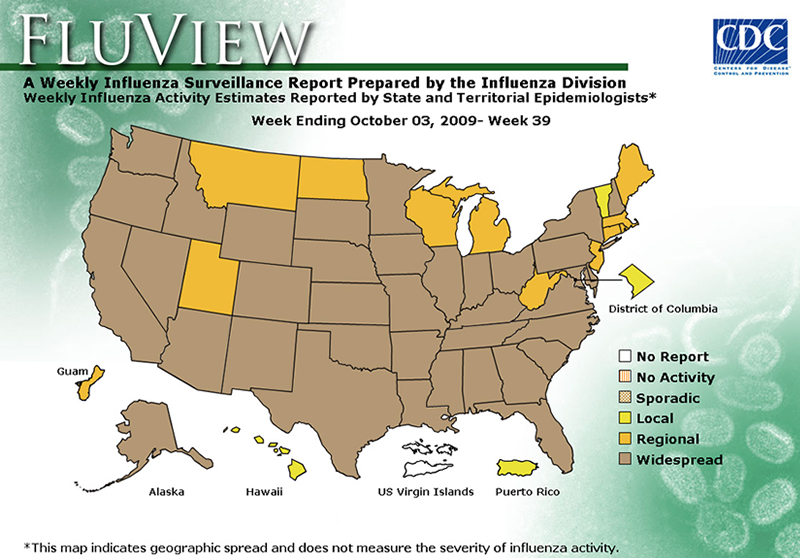 FluView, Week Ending October 3, 2009. Weekly Influenza Surveillance Report Prepared by the Influenza Division. Weekly Influenza Activity Estimate Reported by State and Territorial Epidemiologists. Select this link for more detailed data.