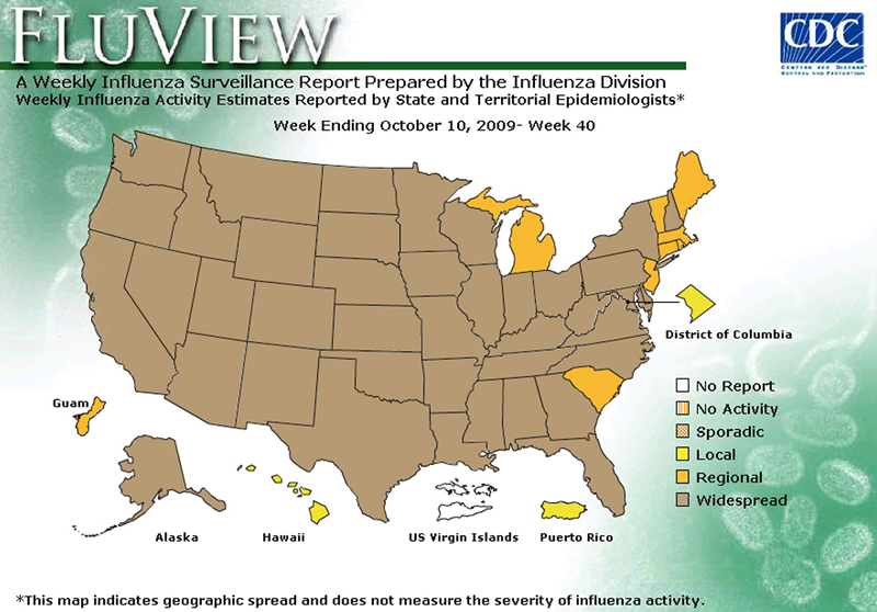 FluView, Week Ending October 10, 2009. Weekly Influenza Surveillance Report Prepared by the Influenza Division. Weekly Influenza Activity Estimate Reported by State and Territorial Epidemiologists. Select this link for more detailed data.