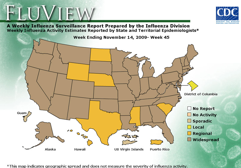 FluView, Week Ending November 7, 2009. Weekly Influenza Surveillance Report Prepared by the Influenza Division. Weekly Influenza Activity Estimate Reported by State and Territorial Epidemiologists. Select this link for more detailed data.