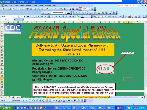This displays the opening page of the FluAid Special edition software.  You must select the Start button to begin using the software.