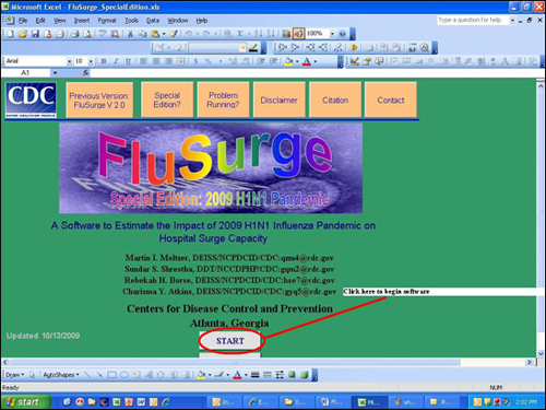 Displays the opening page of the FluSurge Special Edition software.  You must select the START command to begin using the software.