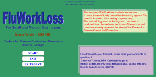 Displays the opening page of the FluWorkLoss Special Edition program, which allows the user to officially begin using the software.