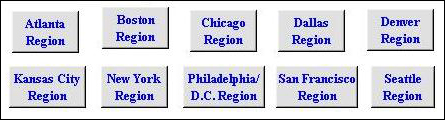 Picture of Health and Human Services Regions.  The user selects which HHS Region they would like to view in order to obtain their %ILI Visits in an effort to compare the proportion of workdays lost (using the FluWorkLoss Special Edition software) at a given pandemic duration and attack rate against the regional schematic of what the pandemic season could resemble.
