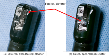These images show the distal end, Model TJF-Q180V (Olympus) – Illustrating the orientation of forceps elevator in the (a) 'lowered/ closed' position and (b) 'raised/ opened' position.