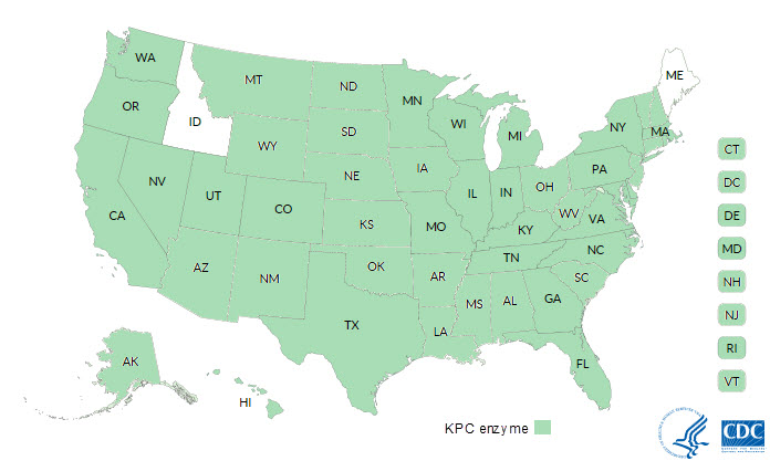Patients with KPC-producing Carbapenem-resistant Enterobacteriaceae (CRE) reported to the Centers for Disease Control and Prevention (CDC) as of January 2017, by state