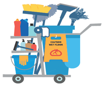 On a cleaning cart, use different color buckets for different cleaning solutions.