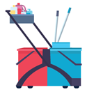 If a cleaning cart or 3-bucket cart is not available, use a 2 bucket cart to clean floors.