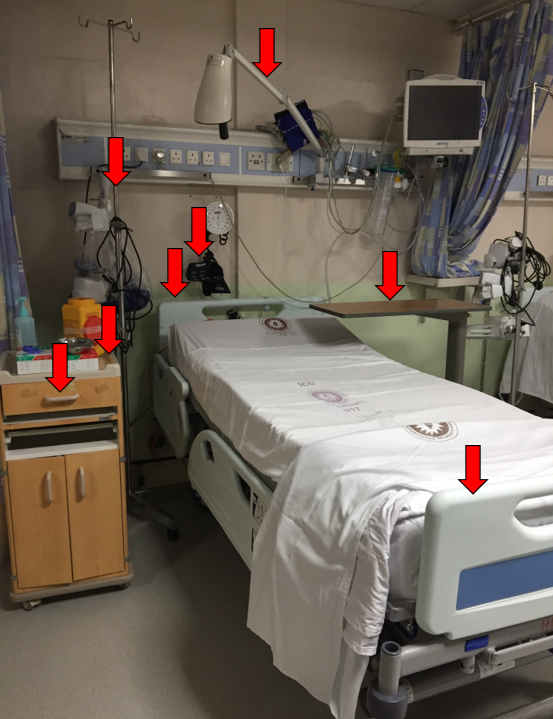 Identify and clean all high touch surfaces in the patient zone.