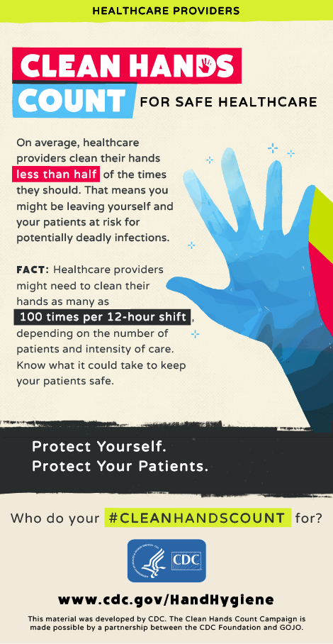 Clean hands count for safe healthcare.  On average, healthcare providers clean their hands less than half of the times they should. That means you might be leaving yourself and your patients at risk for potentially deadly infections.